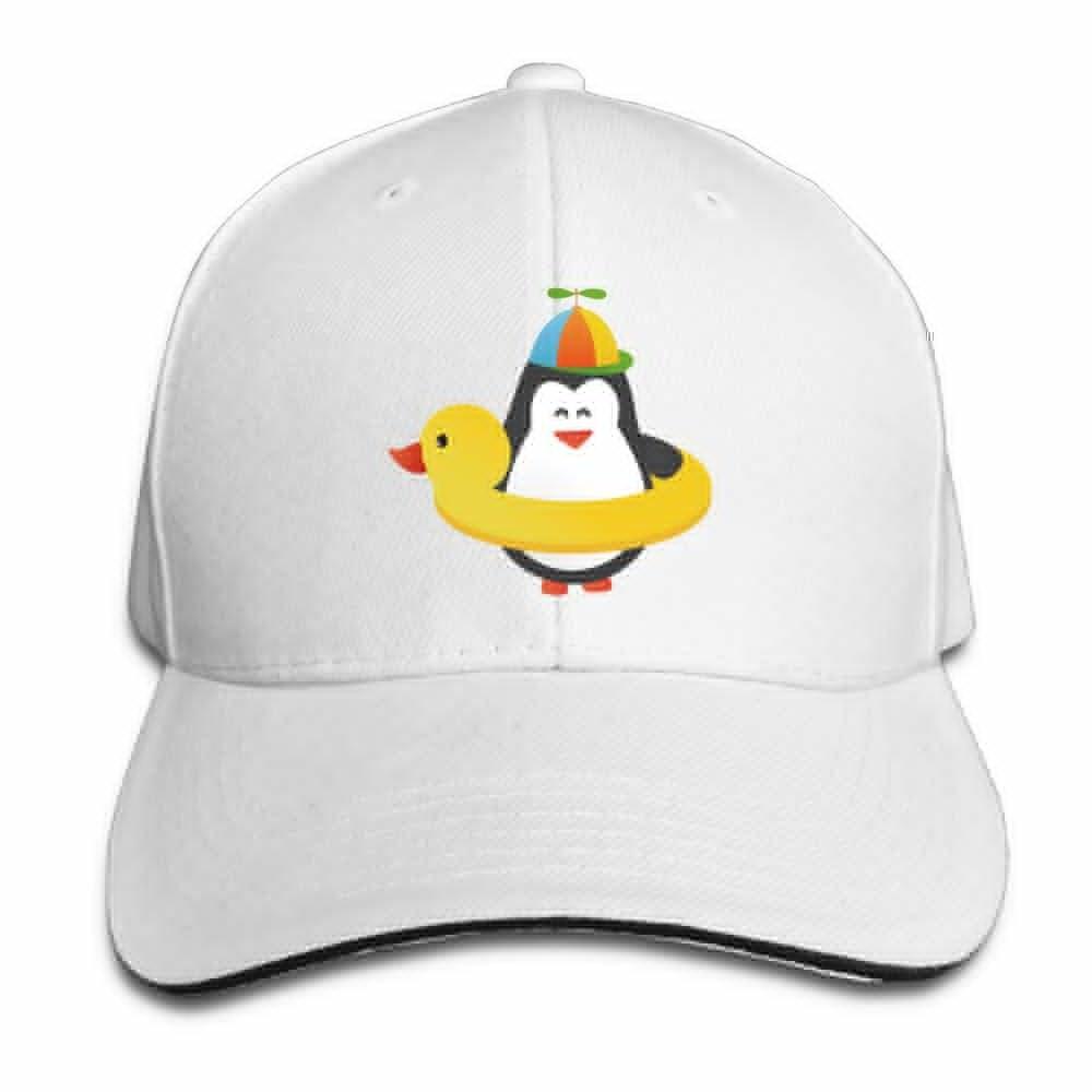 Teesofun Unisex Sandwich Peaked Cap Cute Penguin Swimming Ring Adjustable Cotton Baseball Caps