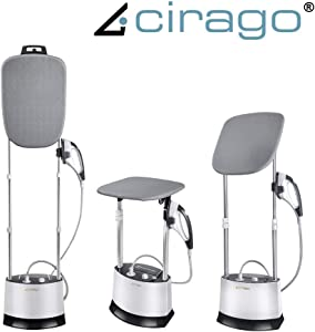 Cirago All in One Iron and Steamer, Clothes Steamer with 360 Degrees Adjustable Smart Board, 4 Level Steam Adjustment Garment Steamer, with Fabric Brush/Anti-scalding Gloves