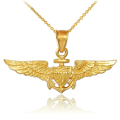 American Heroes Solid 10k Gold US Naval Aviator Wings Pendant Necklace, 18