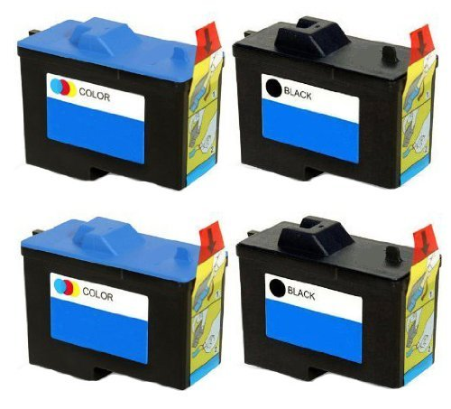 4 Pack (2BK+2C) Remanufactured (Series 2) DELL 7Y743 Black and 7Y745 Color Ink Cartridges for Dell A940 and A960 Printers