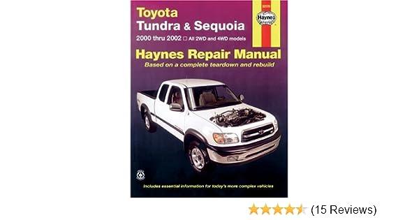 toyota tundra and sequoia 2000 thru 2002 hy repair manual haynes rh amazon com Chilton Manuals Service Manuals