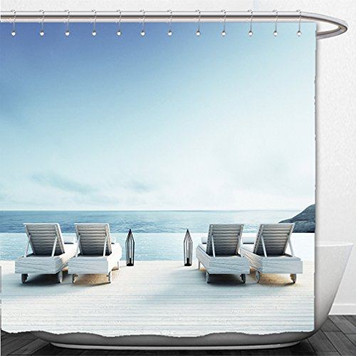 Interestlee Shower Curtain beach lounge sundeck on sea view for vacation and summer d render 373651459