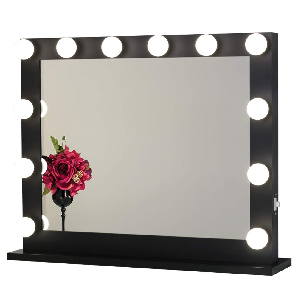 Toyswill Hollywood Vanity Mirror,Lighted Makeup Mirror Free LED Dimmable Bulbs,Tabletop Wall Mounted Back Stage Beauty Cosmestic Mirror (Black)