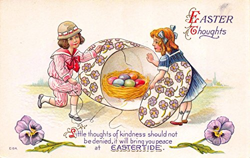Easter Postcard Children Opening Flower Box to Find Nest of Colored (Flower Gallery Music Box)