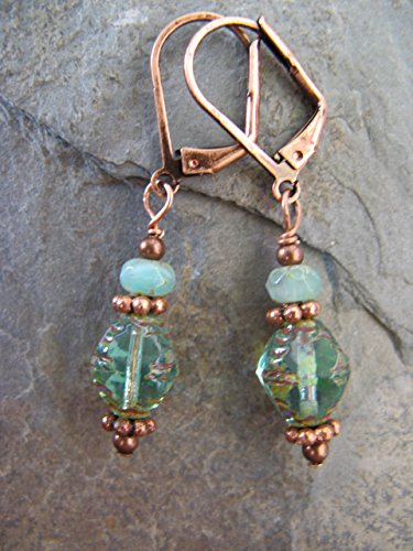 Czech Glass Copper Earrings Beachy Boho Shabby Chic -