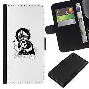 All Phone Most Case / Oferta Especial Cáscara Funda de cuero Monedero Cubierta de proteccion Caso / Wallet Case for Sony Xperia Z2 D6502 // Sugar Skull Goth Pope Girl