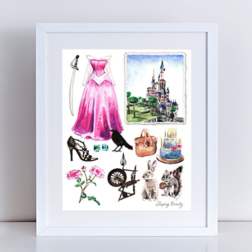 [Sleeping Beauty Aurora Costume Giclee Print of Original Watercolor Painting 8 x 10, 11 x 14 inches Fine Art Poster Princess Castle Dress Classic Fairytale Storybook Disney] (Prince Philip Disney Costume)