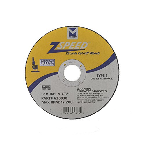 Mercer Industries 630030 Type 1 Zspeed Zirconia Cut-Off Wheel, Double Reinforced, Ferrous Metals & Stainless Steel, 5