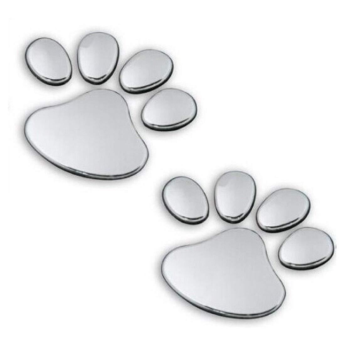 3D Sticker, Chrome Dog Footprints Pet Animal Paw Truck Car Emblem Decal Decoration (Sliver)