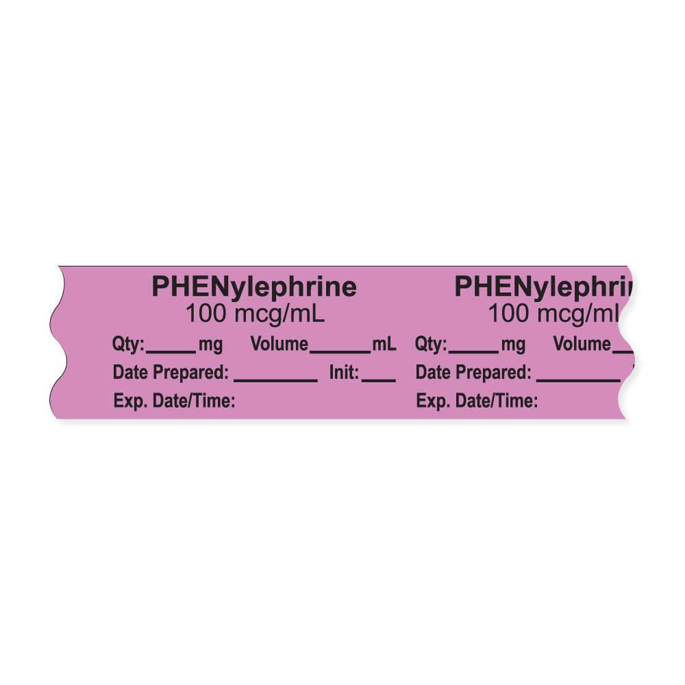 PDC Healthcare AN-2-81D100 Anesthesia Tape with Exp. Date, Time, and Initial, Removable, ''PHENylephrine 100 mcg/mL'', 1'' Core, 3/4'' x 500'', 333 Imprints, 500 Inches per Roll, Violet (Pack of 500)