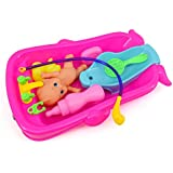 Hohosb Baby Bath Toys for Children Kids Water Toys Bathtub Cognitive Floating Toy Bathroom Game Play Set Early Educational Newborn Gift (Pink)