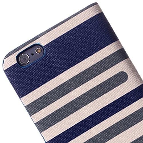 Mxnet Bunte Streifen Textur Horizontale Flip Leder Tasche mit Halter für iPhone 6 & 6S rutschsicher Telefon-Kasten ( Color : Dark Blue )