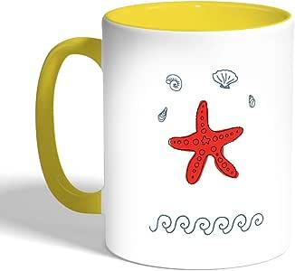 Printed Coffee Mug, Yellow Color, sea Star