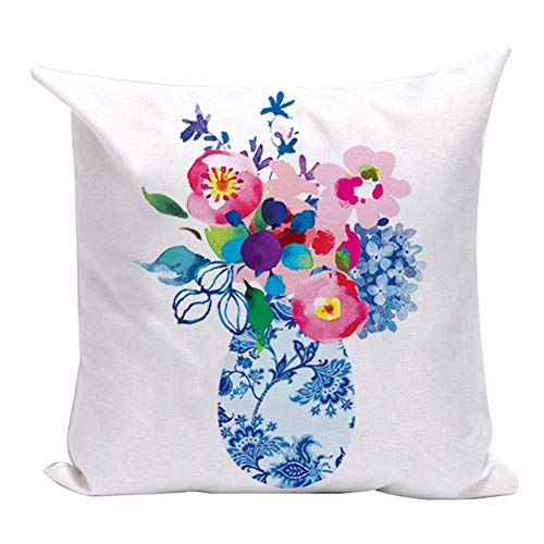 (UTF4C Watercolor Bottle Flowers Throw Pillow Covers White Linen Home Decor Pillowcase Cushion Cover Protector for Sofa Couch 18 x 18 Inches (Watercolor Floral 06))