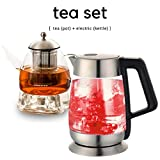 japanese electric tea kettle - Ovente Glass Electric Kettle with Temperature Control Bundle with Glass Teapot and Tea Warmer