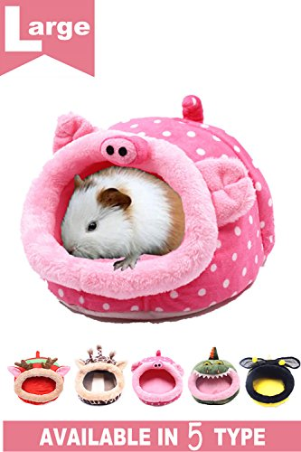 JanYoo Guinea Pig Bed Hedgehog Hamster House Accessories Hideout Chinchilla Cage Supplies for Chinchilla Cage Ferret Rat Gerbil(L,Pig)