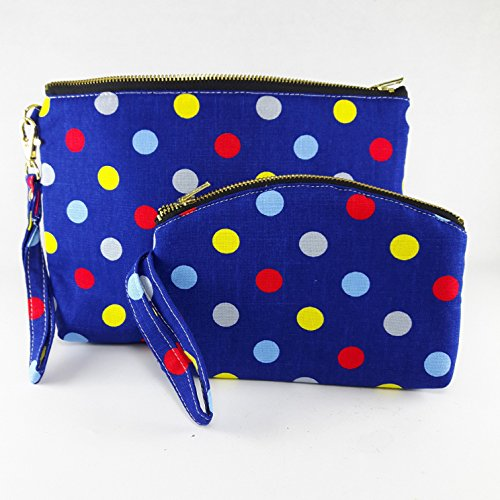 Handbag Coin Purse Blue Color With Small Dots Fabric Print 2 Size Zipper Closer Key Card Lady Cosmetic Makeup (Betsy Dot)