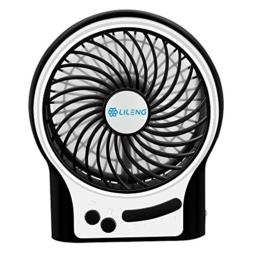 Mini USB Desk Fan, VersionTech Personal Portable Rechargeable Cooling Fan with LED Light for Traveling Room Office Car Household or Outdoor (3 Speeds, Black)