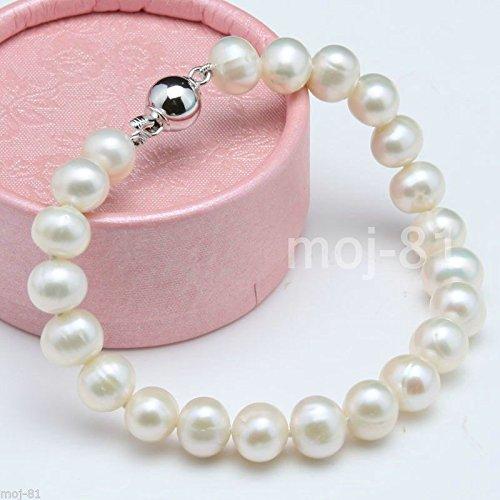 Handmade 7-8mm Genuine White Natural Freshwater Akoya Pearl Bracelet 7.5'' ()