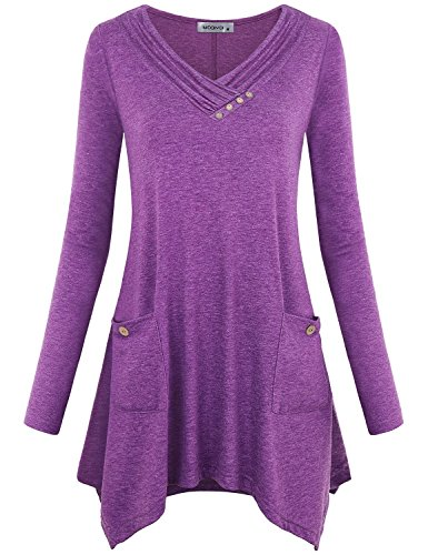 MOQIVGI Blouses for Women Fashion 2018 Work,V Neck Long Sleeve Elegant Asymmetric Hem Pullover Tops Fall Winter Aline Ruched Figure Flattering Loft Tunic Shirt with Patch Hand Pockets Purple X-Large ()