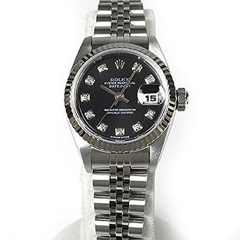 [ロレックス]ROLEX 腕時計 デイトジャスト レディース レディス 黒文字盤 F番 SS/WG ダイヤ