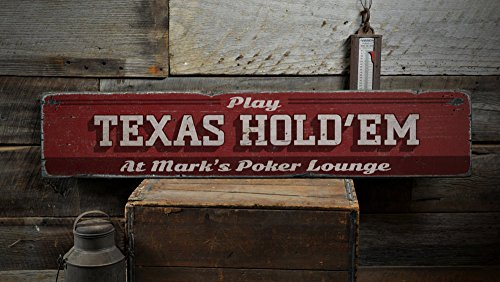 Personalized Wood Poker Sign - The Lizton Sign Shop Texas Hold'Em Wood Sign, Personalized Card Game Poker Lounge Sign, Man Cave Name Decor - Rustic Hand Made Vintage Wooden Sign - 7.25 x 36 Inches