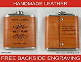 SET OF 6 Personalized Flasks - Handmade Engraved Real Leather Flasks -Groomsmen Gifts