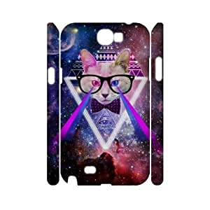 Galaxy Hipster Cat DIY 3D Cover Case for Samsung Galaxy Note 2 N7100,personalized phone case ygtg551769