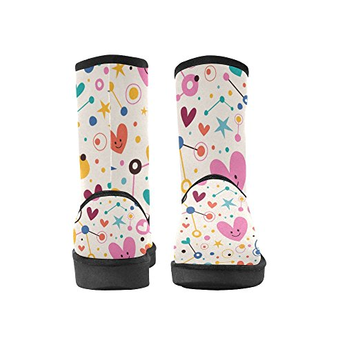 Snow Colorful Womens Ladies InterestPrint Size 12 Boots Color10 for 5 On 5 Print Pattern Classic Flowers qCEdwRvId
