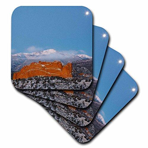 (3dRose Danita Delimont - Mountains - Colorado, Colorado Springs. Moon, Pikes Peak and sandstone formation. - set of 8 Coasters - Soft (cst_278773_2))