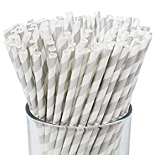 Just Artifacts 100pcs Premium Biodegradable Striped Paper Straws (Striped, Silver)