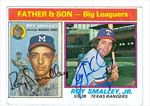 Autograph Warehouse 31058 Roy Smalley Autographed Baseball Card 1976 Topps Father Son Baseball Card Rangers Braves ()