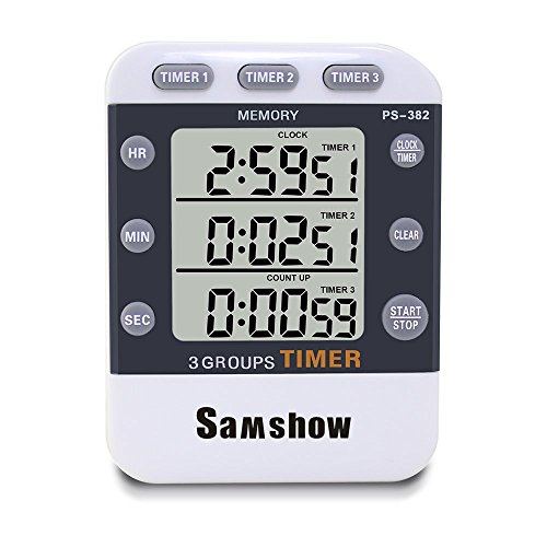 Samshow Digital Kitchen Cooking Timer Clock,3 Channels Simultaneous Timing Countdown Up Pocket Timer, Large Led Display, Loud Alarm, Memory Stopwatch Function, Magnetic Back , White (Battery included)