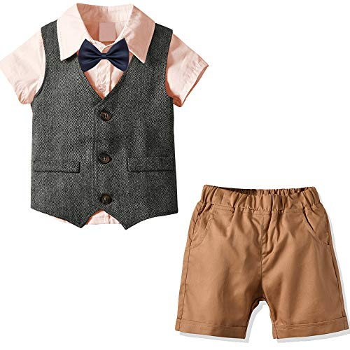 Nwada Little Boy Tuxedos Suits Vest + Short Sleeve Shirts + Shorts + Bow Tie 4pcs Boys Clothes Sets Pink 2-3 Years