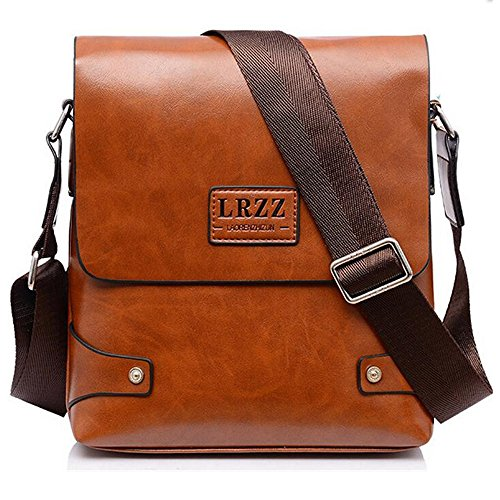 Travel Mens Hombres Casual Pu Crossbody Bolso Bolsos Polarlander Marrón Yellow Messenger Bag wqXgFcWI