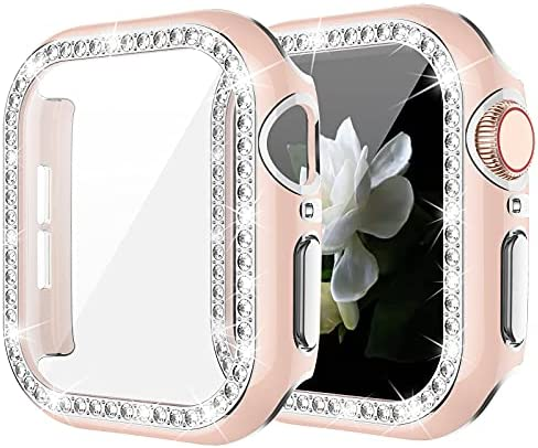 Goton Bling Case with Tempered Glass Screen Protector Compatible with Apple Watch 40mm Series 6 5 4 SE, Diamond Rhinestone Full Protective Cover for iWatch Series 6/5/4/SE 40mm Girl Women – Pink/S