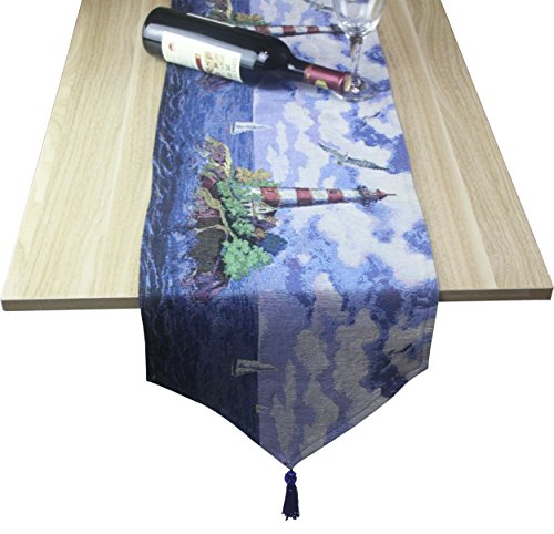 Z.Jian Cotton Fabric Lighthouse Decor Table Runner For Dinin