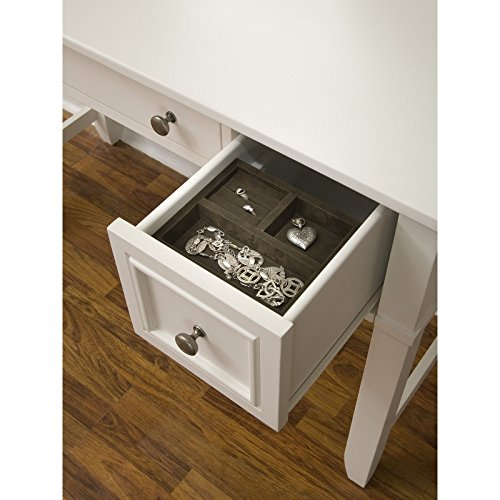 Home Styles Naples White Vanity Table and Bench with Mirror, Center Drawer, Two Outer Drawers, and Brushed Nickel Hardware