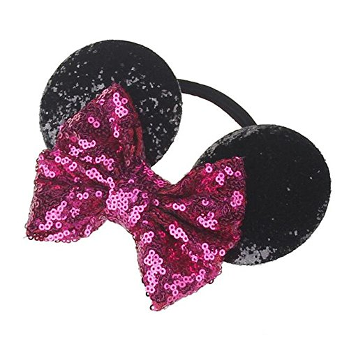 Headbands For Kids MINNIE Sequins Hair MOUSE Girls Baby EARS Bow knot (Pink and Black) ()