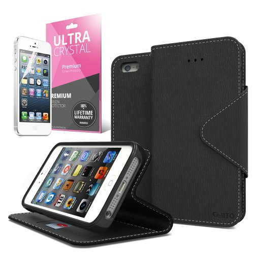 iPhone SE Case, Cellto PU Leather Wallet Cover Stand and Reversible Magnetic Flap Flip Cover for Apple iPhone SE / iPhone 5S / iPhone 5 - Black
