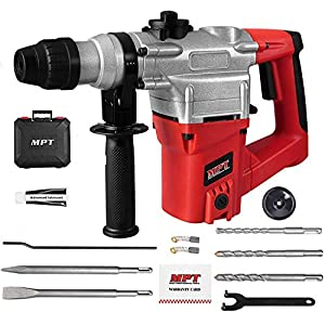 MPT 1 Inch SDS-Plus 1050W Heavy Duty Rotary Hammer Drill,3 Function and Adjustable Soft Grip Handle,Include 3 Drill Bits…