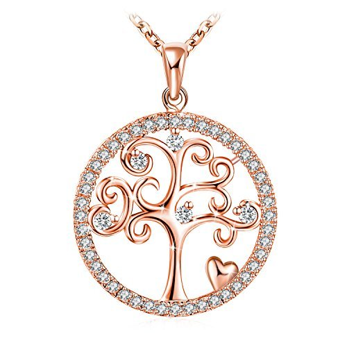 - J.Rosée Necklace With 925 Sterling Silver Rose Gold Plated Tree of Life Pendant Necklace 18