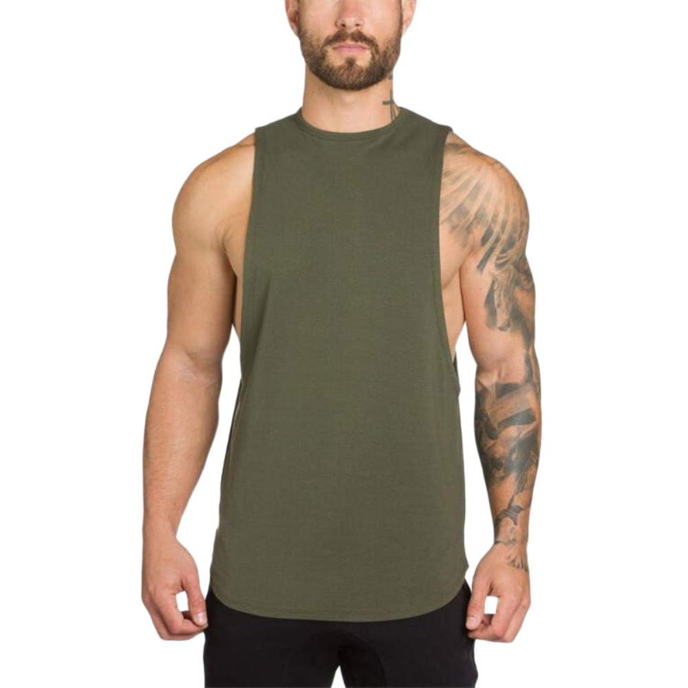 Mnyycxen Men's Fitted Muscle Cut Workout Tank Tops Gym Bodybuilding T-Shirts Army Green