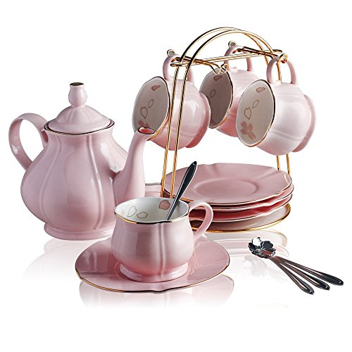 Classical Porcelain Tea Sets - 8 OZ Pink Cups& Saucer Service for 4,with Teapot Teaspoons and tea strainer for Tea/Coffee By (Palace Dinnerware Collection)