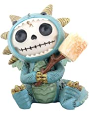 SUMMIT COLLECTION Furrybones Scorchie Signature Skeleton in Blue Dragon Costume Holding Stick of Roasted Marshmallow