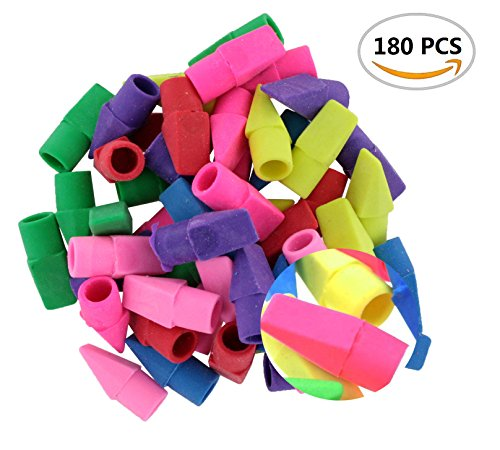 180PCS IFfree Eraser Caps Assorted Colors,Fun Color for Fun Learning NEW.Assorted Colors-Red, Yellow, Green, Blue, Purple, - Blue Color New