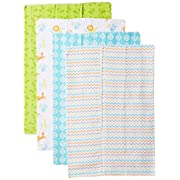 Luvable Friends Baby Infant Layered Flannel Burp Cloth, Love 4 Pack, One Size