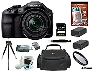 Sony A3000 ILCE-3000K ILCE-3000KB 20. 1MP A3000 Interchangeable Lens Camera with 18-55mm Zoom Lens (Black) with Additional Battery for Sony NP-FW50 + Sony 32GB SD Card + Accessory Kit