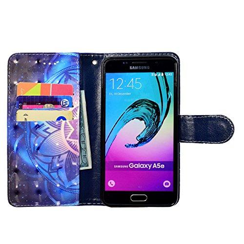 Funda para Samsung Galaxy A3 2016 A310 con Tapa TOCASO Funda Libro Piel PU Con Retro Flor y Mariposa Ultrafina Piel Premiumcon Cierre Magnético Case Cover Carcasa Plegable Protectora Funcional Fina y  Mandala