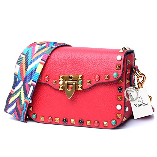 Yoome Mini Crossbody Bag Designer Clutch for Women Rivets Bags with Colorful Strap Cowhide Leather Shoulder Bag For Girls Red